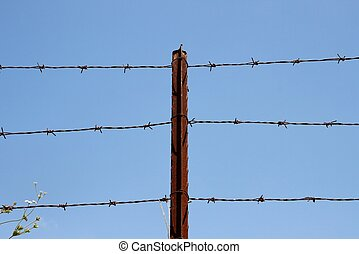 Three strands of barbed wire on rusty post over sky - Three...