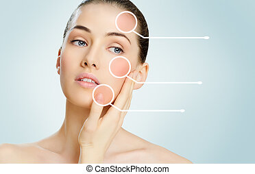 healthy face - beauty woman on the blue background