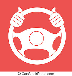 Steering design over red background, vector illustration