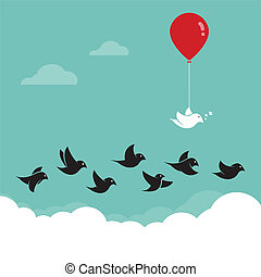 Birds flying in the sky and red balloons Concept creative