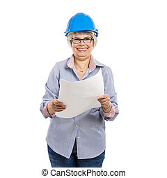Female architect with a helmet and holding paper projects