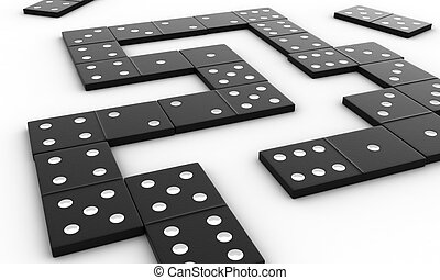 Domino - 3d render of black domino blocks over white...