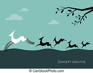 Silhouette of a herd of deer on blue background Concept...