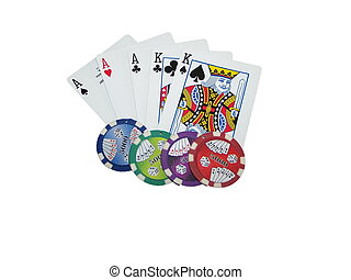 Texas hold em full house isolated on white