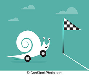 Snail on wheels like a car. Concept of speed and success.