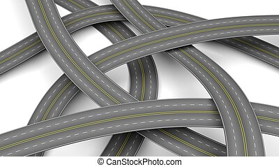 Abstract 3d illustration of multiple crossroads