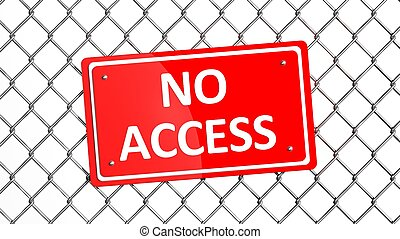 Metal fence with red sign No Access isolated