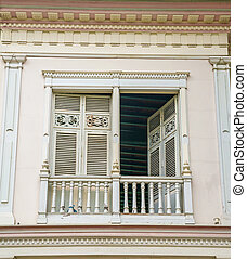 Old 19th century balcony, at a National Park in Guayaquil,...