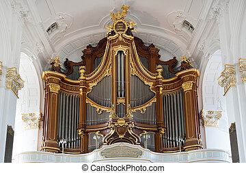 Organ - The organ in St. Michaelis church in Hamburg,...