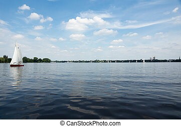 Alster lake - View from Alster lake in Hamburg