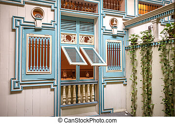 Replica of an old 19th century home facade, at a National...