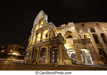 Colosseum in Rome, Italy in the night