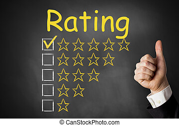 thumbs up rating stars chalkboard - thumbs up rating golden...