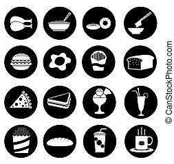Black fast food icon - Illustration - 16 Black fast food...