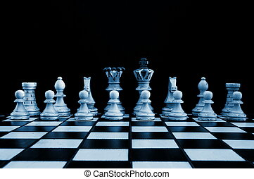 chess pieces showing power competition conflict and strategy...