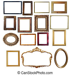 Collection of vintage wooden and golden empty frames...