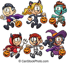 Halloween kids - Cartoon Halloween kids Vector clip art...