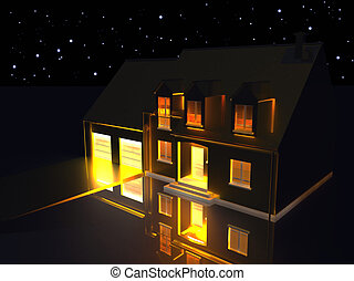Golden House On Silver Ground At Night - 3D rendering of a...