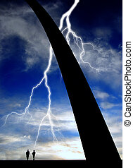St. Louis Arch with People and Lightning - Base of St. Louis...