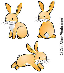 rabbit-set - set of three cute rabbits