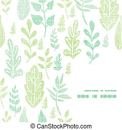 Textile textured spring leaves frame corner pattern...