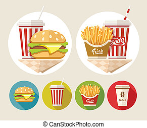 Hamburger, french fries and soda drink in paper cup