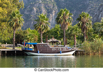 Boat in Dalyan River, Turkey