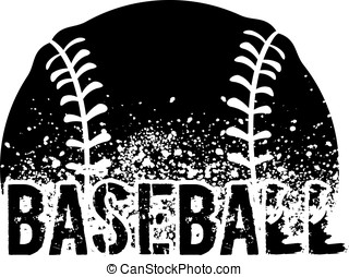 Baseball Grunge - silhouette of a baseball with dirt...
