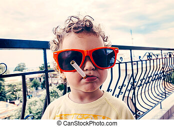 Funny child - Funny little child with sunglasses and...