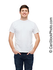 smiling young man in blank white t-shirt - t-shirt design...