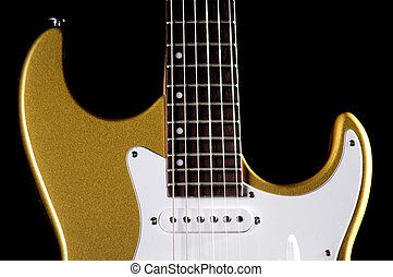 Guitar Electric Gold Isolated Over Black