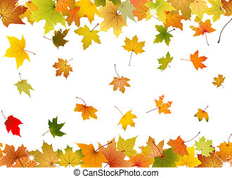 Seamless autumn leaves - Horizontal seamless pattern of...