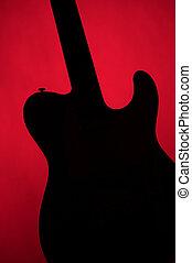 guitarra, eléctrico, oro, aislado, en, blanco