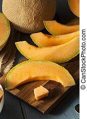 Health Organic Orange Cantaloupe All Cut Up