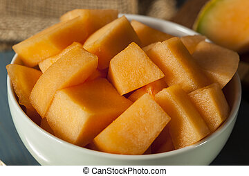 Health Organic Orange Cantaloupe All Cut Up