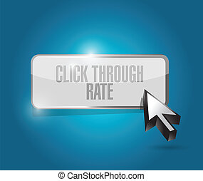 click through rate illustration design over a blue...