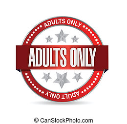 adults only seal illustration design over a white background