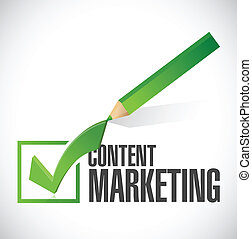 content marketing check mark illustration design over a...