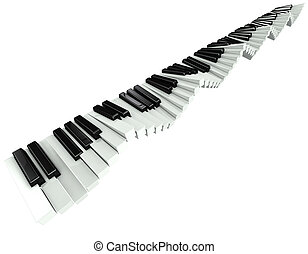 3d Rippling piano keyboard - 3d render of a rippling piano...