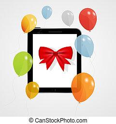 Digital tablet gift vector illustration