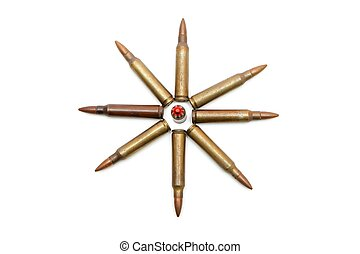 Eight-pointed star made of 5.56mm cartridges isolated -...