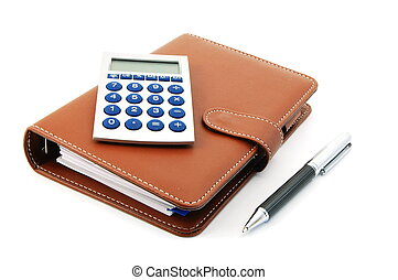 business organizer and pen