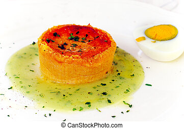 Pie in tomato sauce with aromatic herbs - Pachino tomato pie...