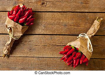 mazzo, rosso, caldo, pepe