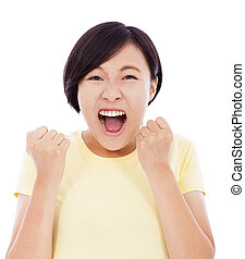 asian young girl feel surprised facial expression