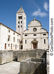 Old Zadar landmarks - Roman ruins and St Mary church in...