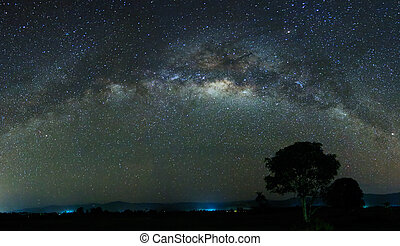 Panoramic shot of the milky way at Sabah, East Malaysia,...