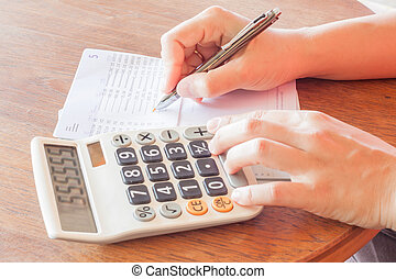 Businesswoman check bank account passbook, stock photo