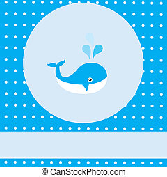 Baby Whale - vector baby shower card