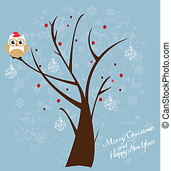 Snow Owl - vector owl in the tree